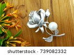 Silver Rose With White Pearl...