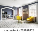 the modern interior.... | Shutterstock . vector #739090492