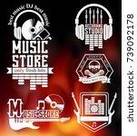 set of logo for recording... | Shutterstock . vector #739092178