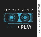 let the music play t shirt and... | Shutterstock .eps vector #739092502