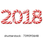 new year 2018 in shape of candy ... | Shutterstock . vector #739093648