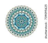 flower mandalas. vintage... | Shutterstock .eps vector #739095625
