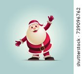 santa claus is raising his arms ... | Shutterstock .eps vector #739096762
