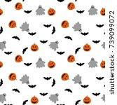 halloween seamless pattern with ... | Shutterstock .eps vector #739099072