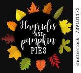hayrides and pumpkin pies. card ... | Shutterstock .eps vector #739101172