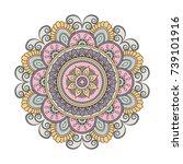 flower mandalas. vintage... | Shutterstock .eps vector #739101916