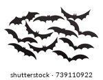 silhouettes of volatile bats... | Shutterstock . vector #739110922