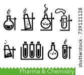 set of pharma and chemistry... | Shutterstock .eps vector #739121128