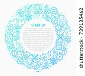 start up concept in circle with ... | Shutterstock .eps vector #739135462
