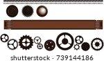 steampunk vintage signboard on... | Shutterstock .eps vector #739144186
