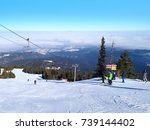 panorama of winter mountains ... | Shutterstock . vector #739144402