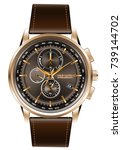 gold watch chronograph brown... | Shutterstock .eps vector #739144702