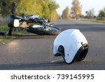 photo of helmet and motorcycle... | Shutterstock . vector #739145995