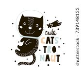 cute cat in space print.... | Shutterstock .eps vector #739148122