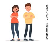 family quarrel. unhappy couple. ... | Shutterstock .eps vector #739149826