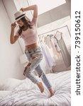 beautiful girl in casual...   Shutterstock . vector #739150612