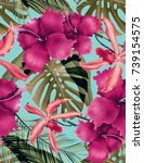 seamless tropical flower  plant ... | Shutterstock . vector #739154575