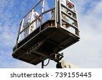 painter on a working platform | Shutterstock . vector #739155445
