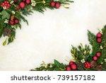 christmas decorative background ... | Shutterstock . vector #739157182
