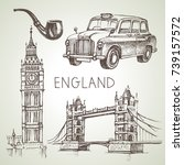 hand drawn sketch england set.... | Shutterstock .eps vector #739157572