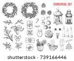 christmas hand drawn elements... | Shutterstock .eps vector #739166446