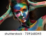 fashion model girl portrait... | Shutterstock . vector #739168345
