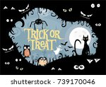 cute  stylized vector halloween ... | Shutterstock .eps vector #739170046