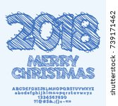 vector merry christmas greeting ... | Shutterstock .eps vector #739171462