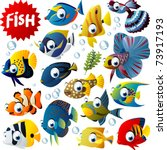 vector tropical fish set | Shutterstock .eps vector #73917193