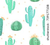 seamless pattern with cute... | Shutterstock .eps vector #739177108
