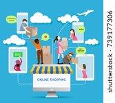 flat style mobile online store...   Shutterstock .eps vector #739177306
