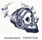 human skull tattoo and t shirt... | Shutterstock .eps vector #739197136