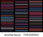 collection hand drawn borders | Shutterstock .eps vector #739205092