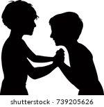 children fighting  silhouette... | Shutterstock .eps vector #739205626