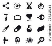16 vector icon set   molecule ... | Shutterstock .eps vector #739215166