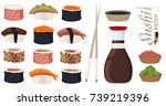 sushi rolls set sashimi seafood ... | Shutterstock .eps vector #739219396