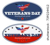 set of veterans day card with... | Shutterstock .eps vector #739224412