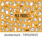doodle illustration of milk... | Shutterstock .eps vector #739225015
