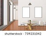 two blank vertical posters mock ...   Shutterstock . vector #739231042