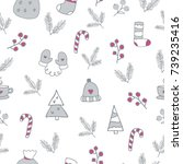 christmas seamless pattern with ... | Shutterstock .eps vector #739235416