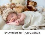 little newborn baby boy ... | Shutterstock . vector #739238536