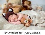 little newborn baby boy ... | Shutterstock . vector #739238566