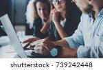 concept of teamwork process at... | Shutterstock . vector #739242448