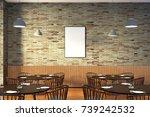 modern restaurant interior with ... | Shutterstock . vector #739242532