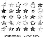 doodle stars set. many cute... | Shutterstock .eps vector #739245592
