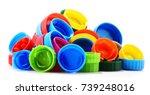 plastic bottle caps isolated on ... | Shutterstock . vector #739248016