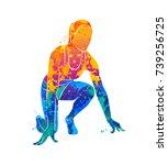 abstract runners on short... | Shutterstock .eps vector #739256725