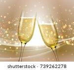 glasses of champagne on bright... | Shutterstock .eps vector #739262278