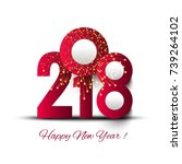 beautiful text 2018 new year... | Shutterstock .eps vector #739264102