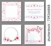 blossom borders  flower flying... | Shutterstock .eps vector #739266868